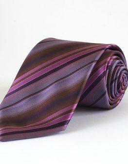 Мъжка вратовръзка в лилаво райе New Style дизайнерска вратовръзка в черно райе
