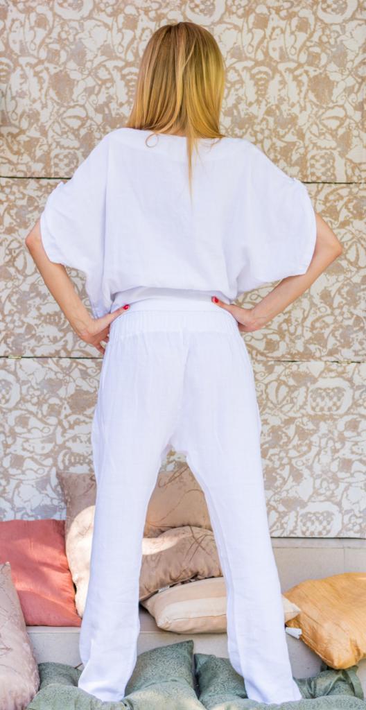 Дамски панталон бял с виснало дъно La Speciale