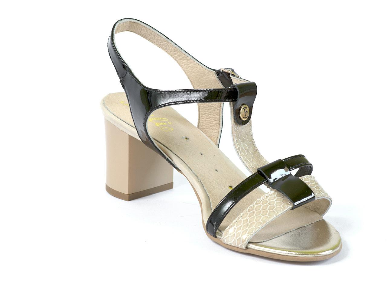 Романтични дамски сандали в бежово и черно - Balis