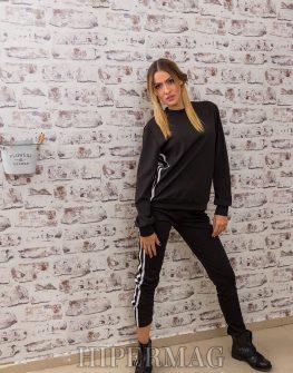 черна бутикова блуза с кантове