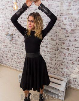 бутикова черна рокля с кожени детайли