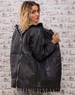 дънково дамско разкроено яке