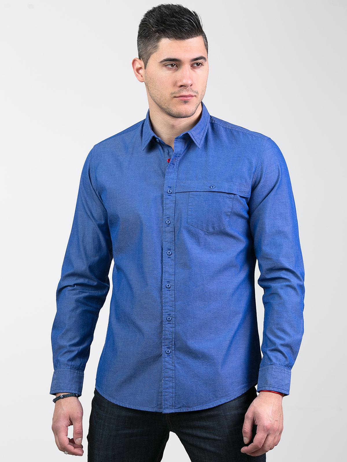 Елегантна мъжка риза в цвят деним