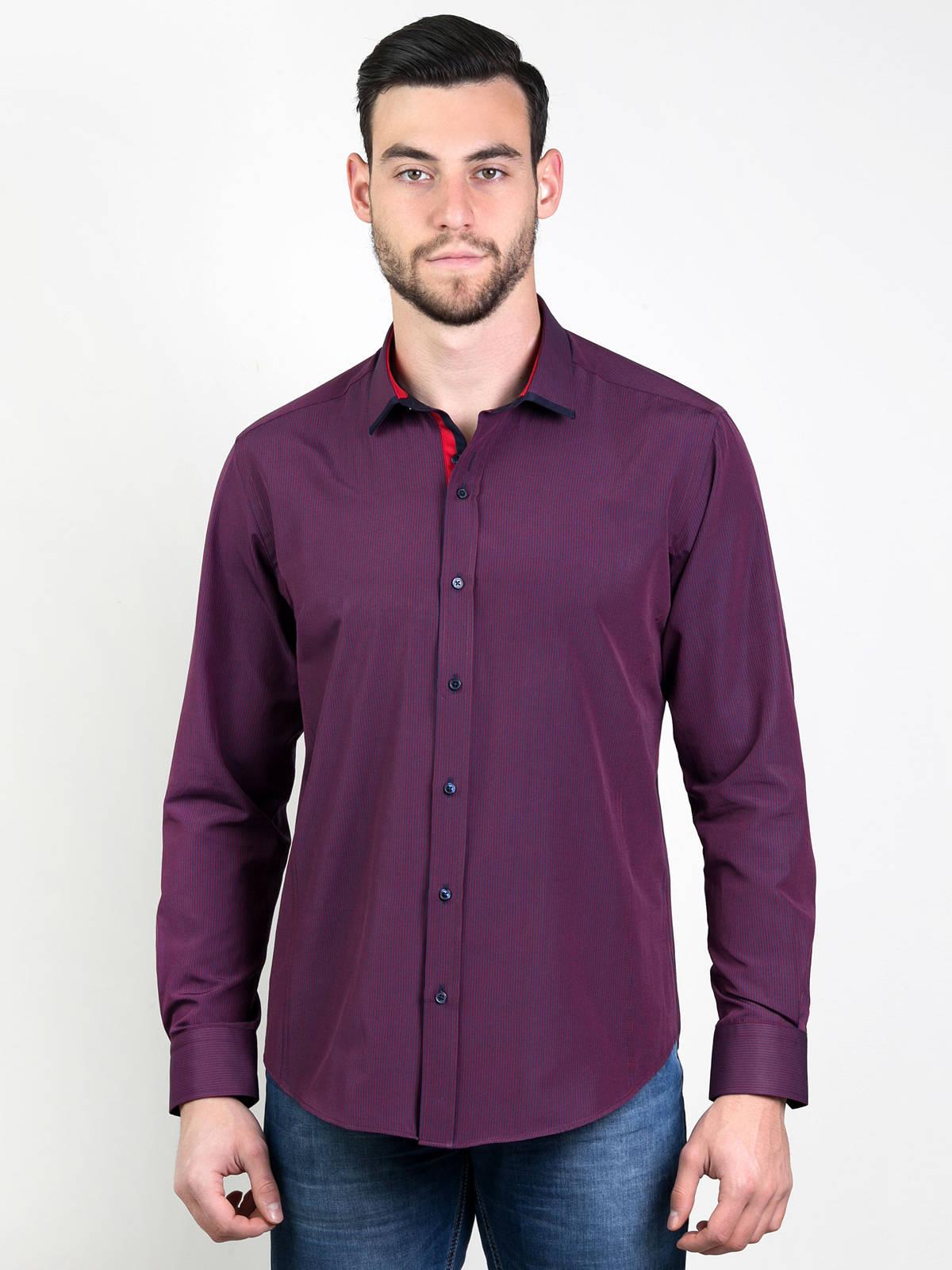 Елегантна мъжка риза в бордо