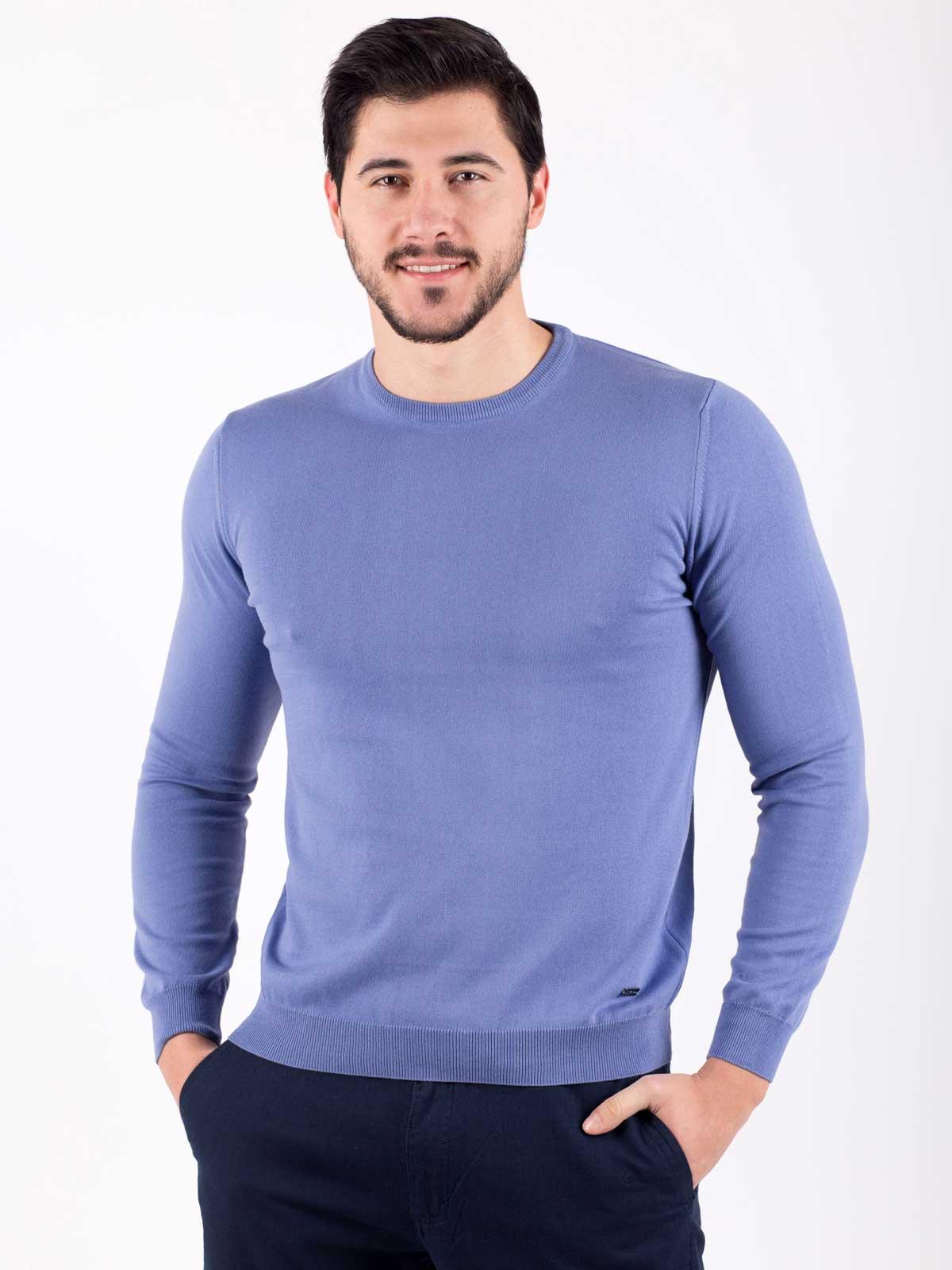Мъжки пуловер в цвят деним