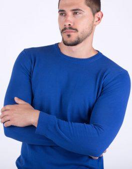 Мъжки пуловер в кралско синьо