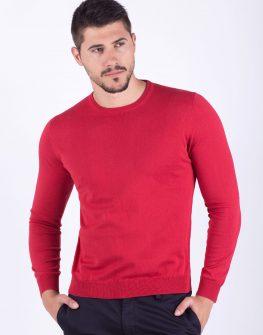 Мъжки пуловер в цвят чили
