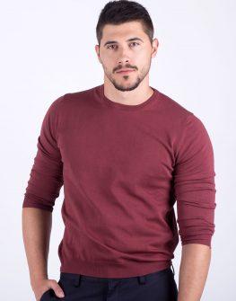 Мъжки пуловер в цвят марсала