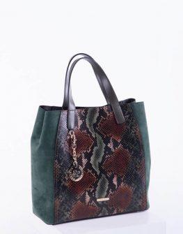 Елегантна дамска чанта в кафяв и зелен цвят