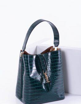Елегантна дамска чанта в зелен цвят