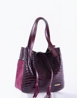 Спортно-елегантна дамска чанта в бордо цвят