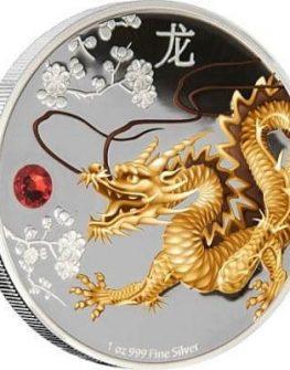 """Сребърна монета """"Пазител на дома, мъдростта и богатството, Дракон"""""""