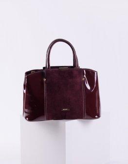 Елегантна лачена дамска чанта в бордо цвят
