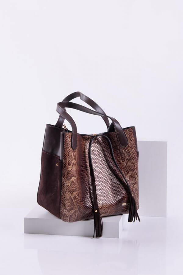 Елегантна дамска чанта в кафяв цвят от змийска кожа Sara Pen