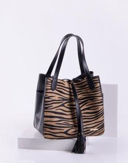 Спортно-елегантна дамска чанта в кафяв зебра цвят Sara Pen