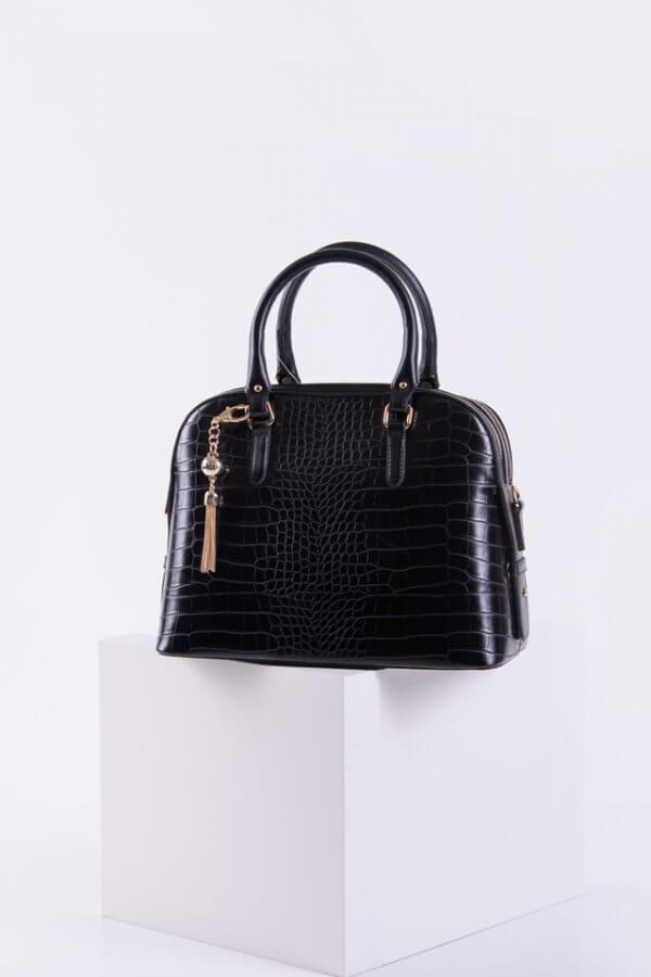 Дамска крокодилска чанта в черен цвят