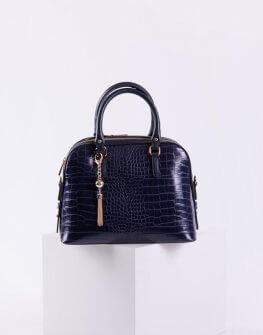 Дамска крокодилска чанта в син цвят