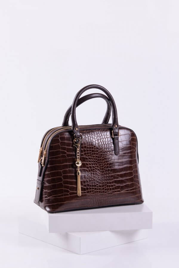 Дамска крокодилска чанта в кафяв цвят