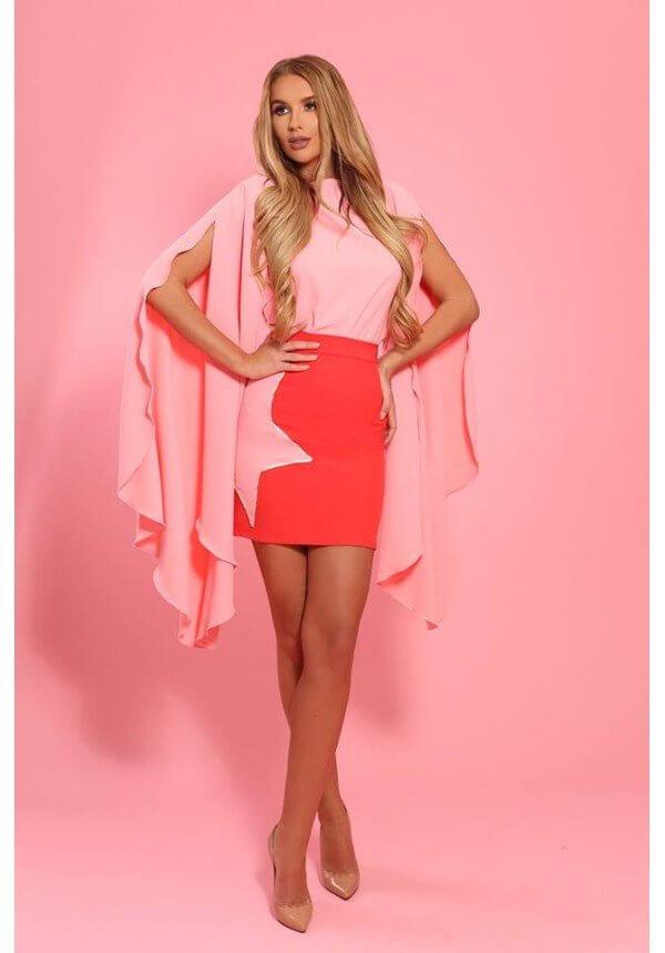 Блуза в розово с ефектни ръкави Cocoon