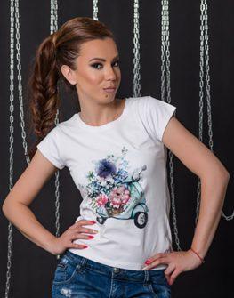 """Тениска с кокетен принт""""Мini Vespa"""" и 3Д цветя"""