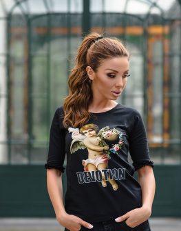 """Блуза с 3/4 ръкав """"Angel Devotion"""" в черен цвят"""