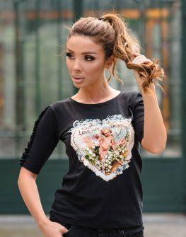 """Блуза с 3/4 ръкав """"Angel Heart"""" в черен цвят"""