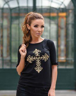 """Блуза с 3/4 ръкав """"Gold cross"""" в черен цвят"""