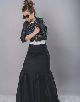 Пола от лен в черен цвят