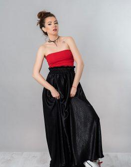 Пола от ацетатна коприна в черен цвят
