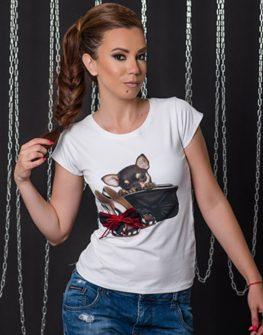 Тениска с кокетен принтМини Chihu